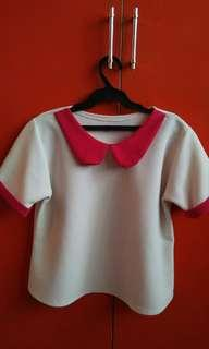 White with baby collar top