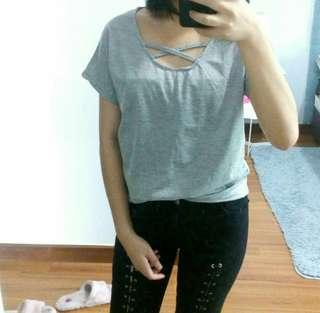GREY CRISS CROSS LACE UP TOP
