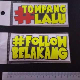 (NEW)Bike Stickers - Melayu/ Malay Phrases Sticker Stickers