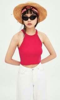 Zara TRF fuchsia pink halter crop top