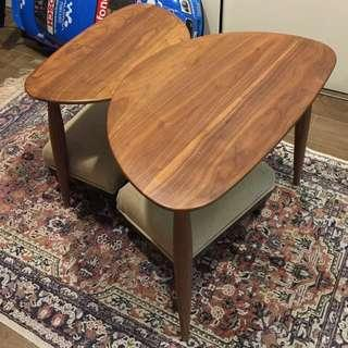 Set Of Sidetables Made Of Solid Walnut Wood