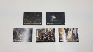 Various Lord of the Rings card collectibles