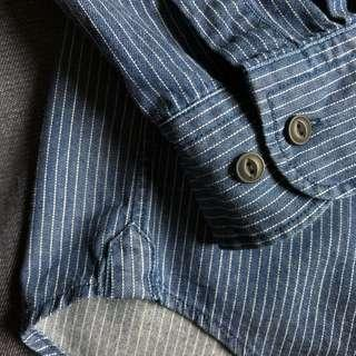 Muji Indigo Dyed Striped Organic Cotton Work Shirt