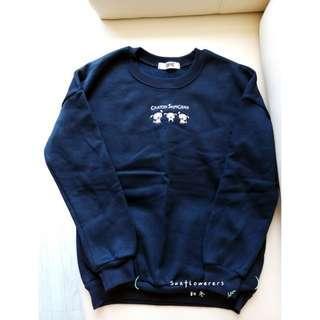 韓國深藍小白衛衣