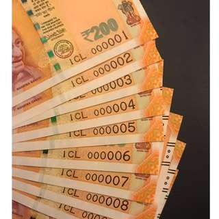 Offer!!! 000001-10 Low serial number new 200 rupees