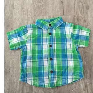 Mothercare Blue & Green Checked Short Sleeve Baby Shirt