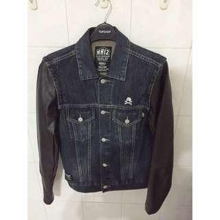 NHIZ vintage denim jkt with leather detachable sleeve