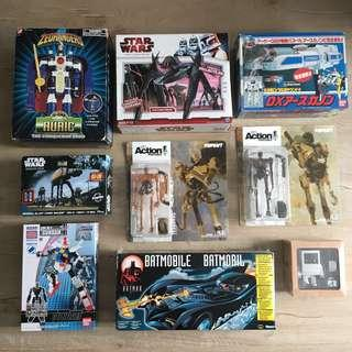 Lots of toys for sale. Includes sentai Star Wars Gundam threea toys batman batmobile vintage MAC designer toy. All letting go the best price I could do.