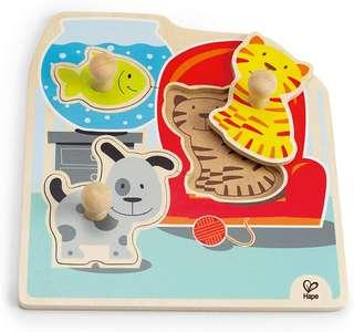 Hape 3 piece Knob Puzzle - Baby/ Toddler Early Learning.