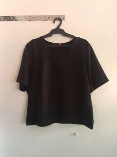 Plus-size black Structured Top