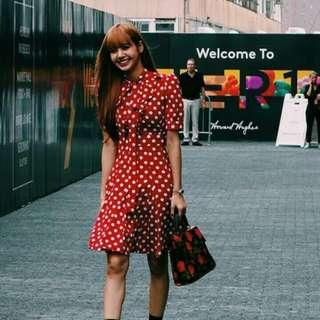 """(PO) Blackpink Lisa """"always dotted"""" red dress 