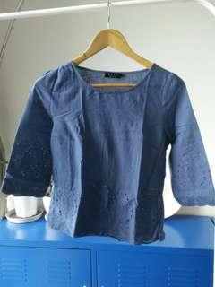 Ezra blue embroidered top
