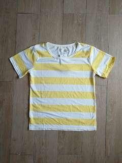 Stripe White Yellow Tee