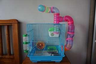 SIZE L HAMSTER CAGE WITH MANY ACCESSORIES