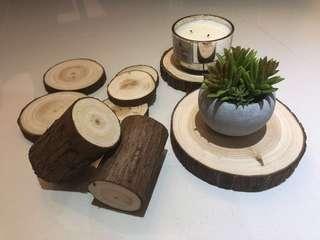 Wood slice + log (garden/forest theme)