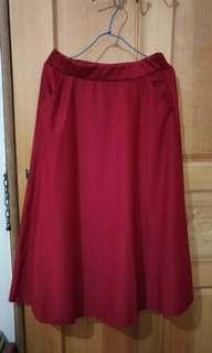 🚚 酒紅 深紅 秋季 口袋 長裙