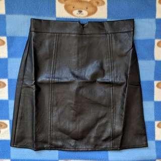 全新 黑色 A字皮質短裙
