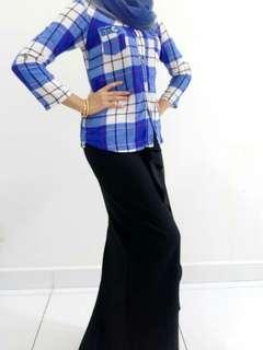 Checkered kemeja top blouse