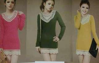 Crochet top blouse green army