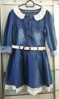 Lace Round Neck Denim Dress Long Sleeve with Belt