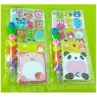 Party Favors/Children's Day - Sticker, Post-it & Colouring Pencil Pack