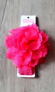 🚚 降👉美國帶回桃紅色花朵寶寶髮帶