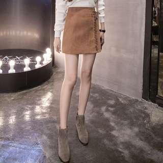 Suede Tie Skirt, Brown
