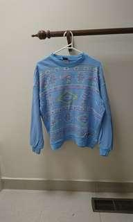 vintage baby blue rainbow Aztec thin sweater s fits 6-10