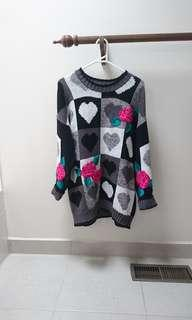grandma oversized sweater Goth Gothic cute embroidered Rose knit patch sweater jumper