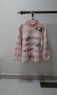 vintage super cute embroidered knit stripe sweater jumper s fits 6-10