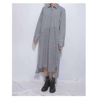 。error dot。日本小格斜拼大格設計襯衫洋裝