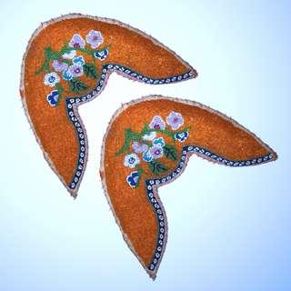 Old Straits Chinese Peranakan Nonya Beadwork Shoe Face Samples, (2)