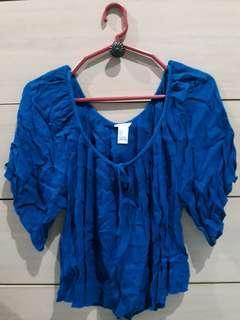F21 blue blouse