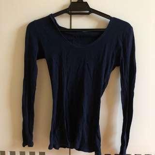 Dark Blue Long Sleeve Top w Hoodie (thin)