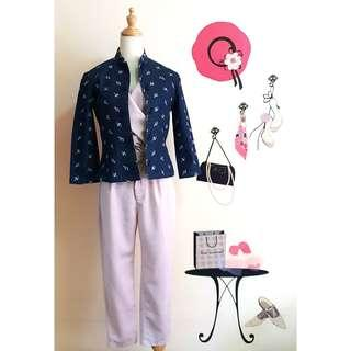 Blue vintage top with cheongsam styled collar and buttons #3×100