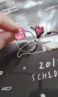 愛心心粉紅色圓圈兩用耳環耳釘