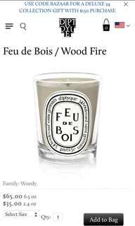 🚚 Diptyque Paris woodfire scented candle