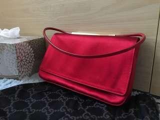 Gucci red satin  handbag