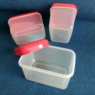 A set of 3 Multi-purpose Plastic Containers with Red Colour Covers