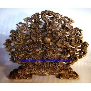 ~~~ Chinese 9 Dragons WooD Carving / Sculpture $688 ~~~