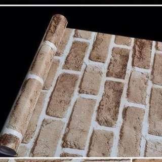 wallpaper rustic brown & white realistic wall stone bricks