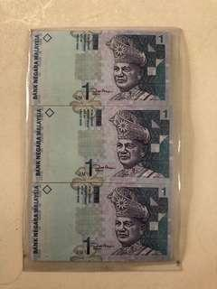 Malaysia $1 running no.(3 pieces)