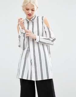 Preloved Monki cold shoulder stripe shirt