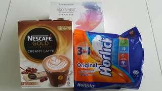 Kinohimitsu Bird's Nest + Nescafe Gold Latte + 3-in-1 Horlicks