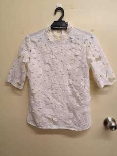 White lace pearl top
