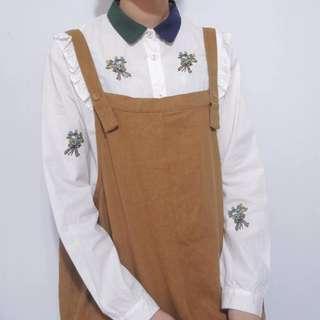 。error dot。日本雙色領刺繡花束荷葉襯衫