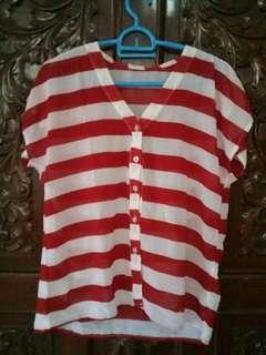 Stripes red sheer top