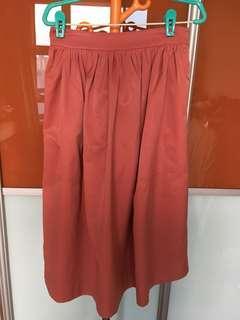 Zara Women XS Pink Tea-Length Flare Skirt