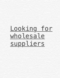 Looking for clothing wholesale supplier