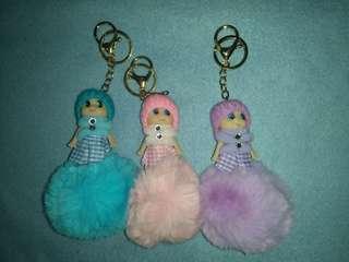 Fur ball with Doll bag charm